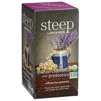 Steep By Bigelow Organic Lavender Chamomile Herbal Tea with Probiotics Tea Bags - 18/Box