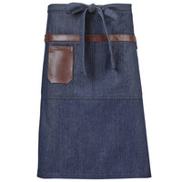 Mercer Culinary M63204DEN Metro Edge Wyatt Indigo Customizable Draper Denim Bistro Apron with Brown Leather Details, Towel Holder, and 3 Pockets - 25 1/2 inchL x 30 1/2 inchW
