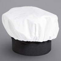 Uncommon Threads 0100 White / Black Customizable Poplin Chef Hat