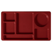 Cambro 915CW404 Camwear (2 x 2) 8 3/4 inch x 15 inch Red Six Compartment Serving Tray - 24/Case