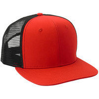 Mercer Culinary Red Customizable 6-Panel Chef Trucker Cap with Mesh Back