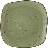 Tuxton GGO-502 TuxTrendz Artisan Geode Olive 11 inch Square China Plate - 12/Case