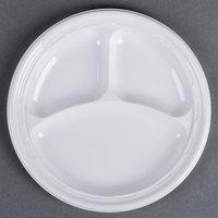 Dart Solo 10CPWF 10 1/4 inch White 3 Compartment Famous Service Impact Plastic Plate 500/Case