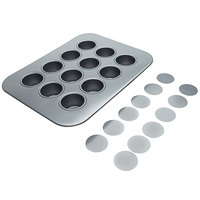 12 Mold Non-Stick Carbon Steel Mini Cheesecake Pan with Removable Bottom - 13 7/8 inch x 10 5/8 inch