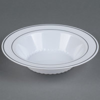 Fineline Silver Splendor 512-WH White 12 oz. Plastic Soup Bowl with Silver Bands - 15/Pack