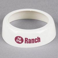 Tablecraft CM15 Imprinted White Plastic Fat Free Ranch Salad Dressing Dispenser Collar with Maroon Lettering