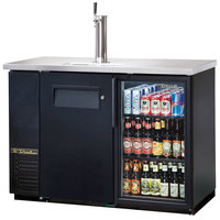 True TDB-24-48-1-G-1 49 inch Back Bar Cooler Direct Draw Kegerator Beer Dispenser with One Glass and One Solid Door