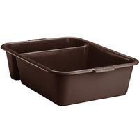 Vollrath 1721-01 Traex® 22 7/8 inch x 17 3/4 inch x 6 1/8 inch Brown High Density Polyethylene Divided Bus Tub
