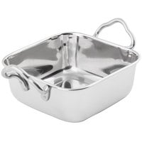 Tablecraft 833 14 oz. Square Mini Stainless Steel Roasting Pan with Handles