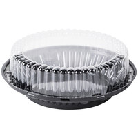 D&W Fine Pack J43 9 inch Black Pie Display Container with Clear High Dome Lid - 100 / Case