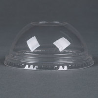 Fabri-Kal Greenware DLGC12/20 Compostable Clear Plastic Dome Lid with 1 inch Hole - 100/Pack