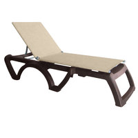 Grosfillex US115037 Jamaica Beach Bronze Adjustable Chaise Lounge with Straw Sling Seat - 16/Case