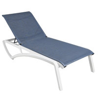 Grosfillex US021096 Sunset Glacier White Chaise Lounge with Madras Blue Sling Seat - 12/Case
