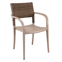 Grosfillex US986181 Java French Taupe Resin Armchair with Wicker Back - 4/Pack