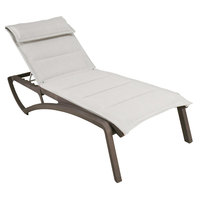 Grosfillex US024599 Sunset Fusion Bronze Chaise Lounge with Beige Comfort Sling Seat - 12/Case