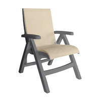 Grosfillex US112181 Jamaica Beach French Taupe Midback Folding Chair with Straw Sling Seat - 2/Case
