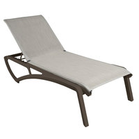 Grosfillex US023599 Sunset Fusion Bronze Chaise Lounge with Beige Sling Seat - 12/Case