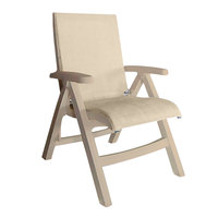 Grosfillex US112066 Jamaica Beach Sandstone Midback Folding Chair with Straw Sling Seat - 2/Case