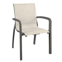 Grosfillex US210288 Sunset Volcanic Black Stacking Armchair with Beige Comfort Sling Seat   - 4/Pack