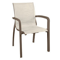 Grosfillex US700599 Sunset Fusion Bronze Stacking Armchair with Beige Sling Seat - 4/Pack