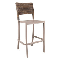 Grosfillex US987181 Java French Taupe Barstool with Wicker Back - 2/Pack