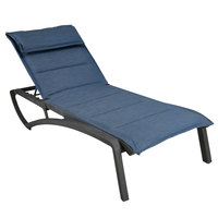Grosfillex US220288 Sunset Volcanic Black Chaise Lounge with Madras Blue Comfort Sling Seat   - 2/Pack