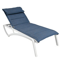 Grosfillex US220096 Sunset Glacier White Chaise Lounge with Madras Blue Comfort Sling Seat   - 2/Pack