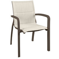 Grosfillex US009599 Sunset Fusion Bronze Stacking Armchair with Beige Comfort Sling Seat - 16/Case