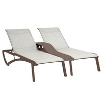 Grosfillex US027599 Sunset Fusion Bronze Duo Chaise Lounge with Beige Sling Seat