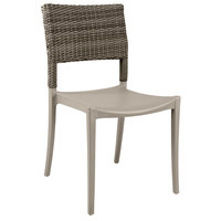 Grosfillex US925181 Java French Taupe Resin Sidechair with Wicker Back   - 16/Case