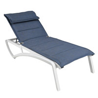 Grosfillex US022096 Sunset Glacier White Chaise Lounge with Madras Blue Comfort Sling Seat - 12/Case