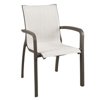 Grosfillex US007599 Sunset Fusion Bronze Stacking Armchair with Beige Sling Seat - 16/Case