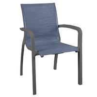 Grosfillex US007288 Sunset Volcanic Black Stacking Armchair with Madras Blue Sling Seat - 16/Case