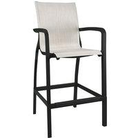 Grosfillex US017288 Sunset Volcanic Black Barstool with Beige Sling Seat - 4/Case