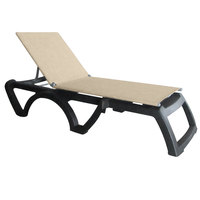 Grosfillex US115002 Jamaica Beach Charcoal Adjustable Chaise Lounge with Straw Sling Seat - 16/Case