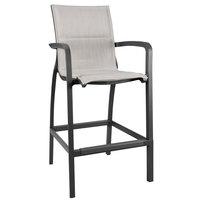 Grosfillex US018288 Sunset Volcanic Black Barstool with Beige Comfort Sling Seat - 4/Case