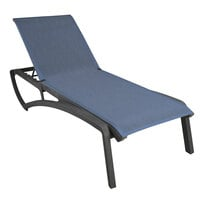 Grosfillex US021288 Sunset Volcanic Black Chaise Lounge with Madras Blue Sling Seat - 12/Case