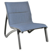 Grosfillex US032288 Sunset Volcanic Black Armless Lounge Chair with Madras Blue Comfort Sling Seat - 4/Case