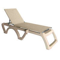 Grosfillex US120066 Jamaica Beach Sandstone Calypso Adjustable Chaise Lounge with Straw Sling Seat - 2/Case