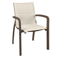 Grosfillex US900599 Sunset Fusion Bronze Stacking Armchair with Beige Comfort Sling Seat - 4/Pack