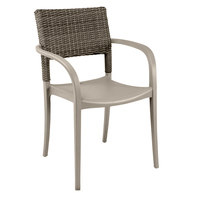 Grosfillex US926181 Java French Taupe Resin Armchair with Wicker Back   - 16/Case