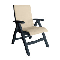 Grosfillex US112002 Jamaica Beach Charcoal Midback Folding Chair with Straw Sling Seat - 2/Case