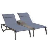 Grosfillex US031288 Sunset Volcanic Black Duo Chaise Lounge with Madras Blue Comfort Sling Seat