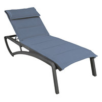 Grosfillex US022288 Sunset Volcanic Black Chaise Lounge with Madras Blue Comfort Sling Seat - 12/Case