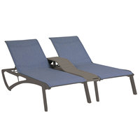 Grosfillex US029288 Sunset Volcanic Black Duo Chaise Lounge with Madras Blue Sling Seat