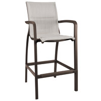 Grosfillex US016599 Sunset Fusion Bronze Barstool with Beige Comfort Sling Seat - 4/Case