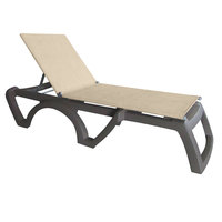 Grosfillex US115181 Jamaica Beach French Taupe Adjustable Chaise Lounge with Straw Sling Seat - 16/Case