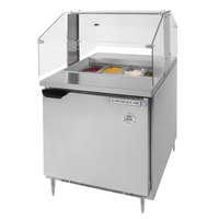Beverage Air SPE27-SNZ 27 inch Refrigerated Salad / Sandwich Prep Table with Condiment Station Sneeze Guard