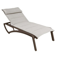 Grosfillex US420599 Sunset Fusion Bronze Chaise Lounge with Beige Comfort Sling Seat - 2/Pack