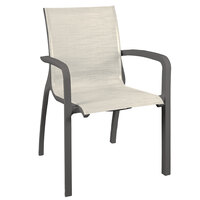 Grosfillex US011288 Sunset Volcanic Black Stacking Armchair with Beige Sling Seat - 16/Case